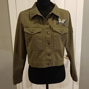 Zara denim olive green jacket Sz Large